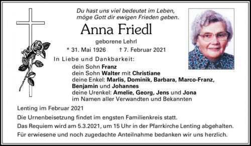 Anna Friedl, Todesanzeige, Lenting, Knaubenhof, Goladinha